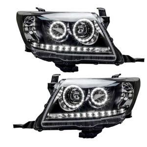 1Pair Front LH+RH LED Headlights Head Lamp Black Fits Toyota Hilux Ute 2011-2015