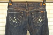 """7 For All Mankind """"A"""" Pocket Flare Leg Womens Jeans Sz 28 Dark Blue Wash Bling"""