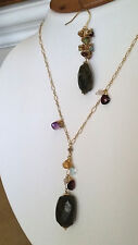 Nina Nguyen - Gold Vermeil Labradorite Amethyst Citrine Necklace Earring Set