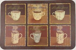 Mediterranean Coffee Themed Placemats Vinyl 3 Ct Set