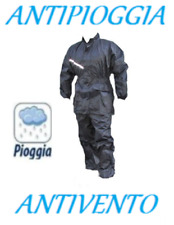 Pantaloni + Giacca Tuta Anti Pioggia Vento Impermeabile Moto Scooter Tg M 57-58