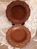 CERTIFIED INTRNTNL KARIDESIGN SET OF 2 BROWN GLAZED SCROLLED RIM DINNER PLATES