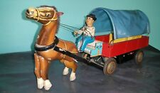 VINTAGE COUNTRY HORSE CART ME 641 TIN TOY RED CHINA BATTERY OPERATED 60'S WORKS