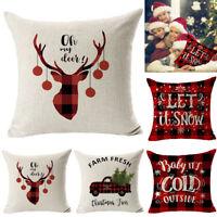 "18"" Christmas Cushion Cover Santa Claus Pattern Square Pillow Case Sofa Car XMAS"