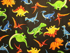 TOSSED DINOSAURS ANIMALS JURASSIC GOOD DINOSAUR BLACK COTTON FABRIC FQ