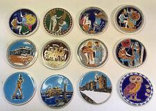 New listing Greek Glazed Ceramic Place Coasters Handmade Set of 12