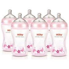 Nuby Bébé Naturel Tactile Moyen Flux 6 Bébé Pack Bouteille Bouteilles Rose Neuf