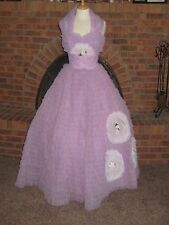 VTG 50s PROM dress LAVENDER rows of RUFFLES shelf bust BEAUTY QUEEN to die for!