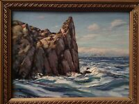 Tableau Post Impressionniste Cote rocheuse en Bretagne Huile signée