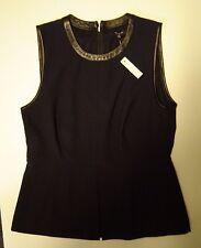 MADEWELL by J.CREW   Black Leather-trim Peplum top     Size 8    NWT