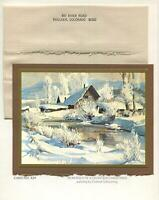 VINTAGE CHRISTMAS IMPRESSIONISM WYOMING SNOW CONRAD SCHWIERING GREETING ART CARD
