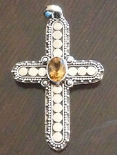 ARTISAN CRAFTED 1.11 CT BRAZILIAN CITRINE CROSS PENDANT IN STERLING SILVER