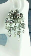 Vintage Silver Tone Dangle cluster Drop Rhinestone earrings lot 33