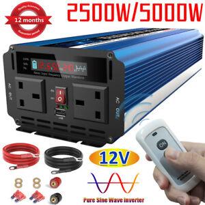 2500W/5000W Pure Sine Wave Power Inverter Caravan Converter DC 12V to AC 240V UK
