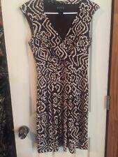 Brown Tribal Print  strechy Wrap Style Dress NWOT Size 4
