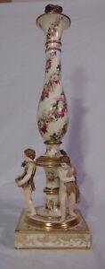 19thC Derby Porcelain Candlestick Candle Holder Cherubs Handpainted Flowers
