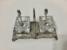 Ornate Antique 800 Silver & Glass Salt & Pepper Server Set With Matching Spoons