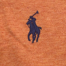 POLO RALPH LAUREN POLO SHIRT ORANGE With BLUE PONY MEN'S MEDIUM 100% Cotton