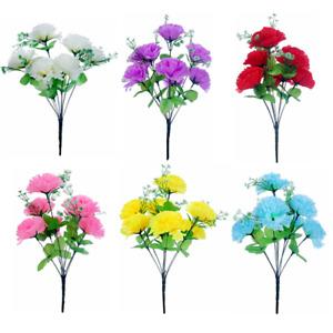 Artificial Carnation Bush 8 Heads 36cm height Choose your colour