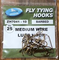 Dragon Medium Wire Lure Hook Various Sizes 25 Pack Fly Tying Hooks