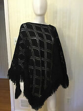 St. John Black Cape Shawl Poncho Fringe One Size