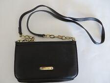 Anne Klein Small Crossbody Purse Bag Top Zip Partial Chain Strap Black #7210