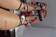 Ladies Pom Pom Greek lace up Sandals Gladiator Tie Up Tribal Boho Ankle Straps