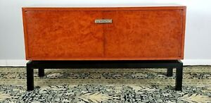 Asian Sideboard Server Buffet Handmade Silver Handle Fish Red Black Lacquer
