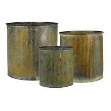 Set of 3 - Corrugated Zinc Metal Vintage Cylinder Vase Pot Planter Wholesale
