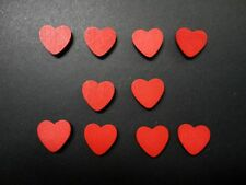 Adhesive Wooden Red Heart - Pkt 10