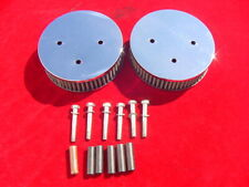 2 Used K+N Chrome Air Filter Triumph TR6 Lotus Elan Elite Jaguar XKE Stromberg