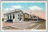 1919 CRISFIELD MARYLAND*MD*MAIN STREET LOOKING EAST*TRAIN TRACKS*OLD CARS
