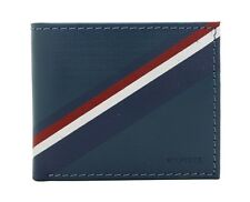 New Tommy Hilfiger Men's Blue/Grey Leather Credit Card Double Billfold Wallet