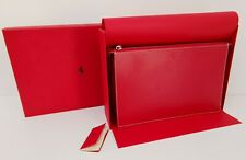 Genuine Ferrari Red Leather Ladys Cosmetic Make Up Hand Bag Clutch Made in Italy