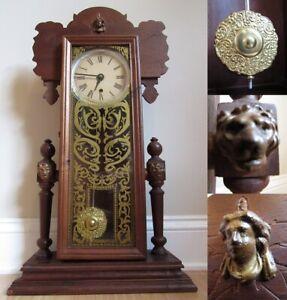 ANTIQUE kitchen mantel clock PAR ARO Canada lion pendulum TALL & RARE & WORKS!