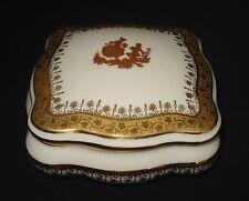 VTG LIMOGES GOUDEVILLE SQUARE WHITE TRINKET BOX VICTORIAN COUPLE GOLD DETAILS
