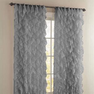2PC Waterfall Shabby Chic Sheer Ruffled Window Curtain Panel Set