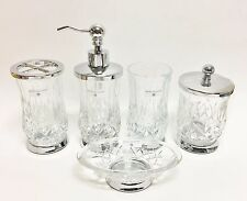 HOTEL BALFOUR 5 PC SET CLEAR CRYSTAL DIAMOND GLASS SOAP DISPENSER+TUMBLER+3 MORE