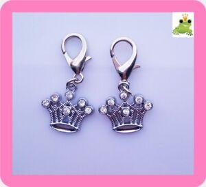 Charm Anhänger Damen Silber-Ton Glitzerfrosch mit Zirkonia Krone