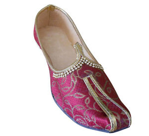 Men Shoes Mojari Indian Handmade Wedding Khussa Loafers Jutties Flat US 6