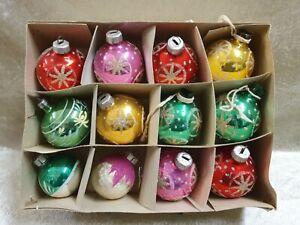 schöne bunte Kugeln Tannenbaumkugeln Weihnachtskugeln mit Glitzer DDR #2102