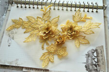 3D Flower Lace Applique Sewing Bridal Wedding Trims Motif Embroidery 19cm*15cm