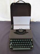 Smith-Corona Skyriter Vintage Typewriter Green Keys Hard Metal Case