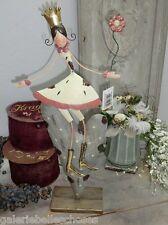 Prinzessin auf Herz Mädchen Krone Metall Punkte Dots Blume Skulptur Figur Mod2