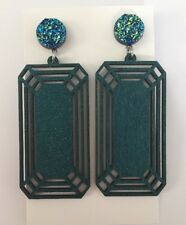 Statement Geometric Dangle Earrings, Light Wood, Surgical Stud, Glitter, Druzy