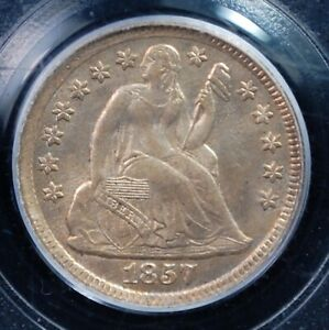"""1857 """" WITH STARS"""" LIBERTY SEATED DIME PCGS MS 63 EXCELLENT STRIKE AND LUSTER"""