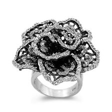 925 Sterling Silver Cubic Zirconia Cocktail Flower Rose Ring Size 9