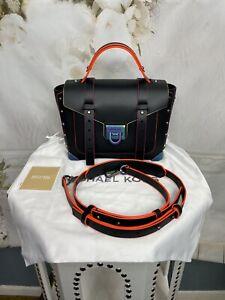 Michael Kors Manhattan Black Oil Slick Neon Medium Satchel Bag Contrast Trim NWT