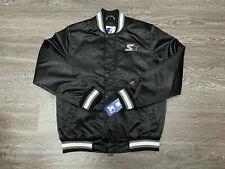 Starter Bomber Satin Varsity Jacket Quilted Logo Snap Zip Black Mens XL $225