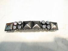Small dark metal and rhinestone hair clip clamp barrette